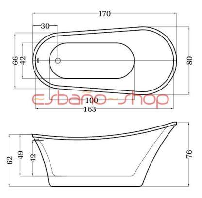 Схема ванна отдельностоящая esbano dublin
