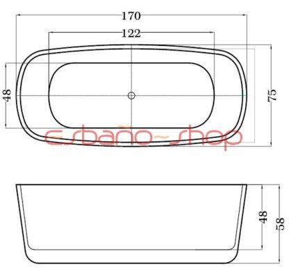 Схема ванна отдельностоящая esbano oslo