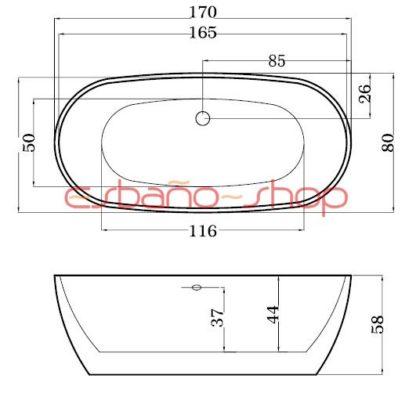 Схема ванна отдельностоящая esbano rome