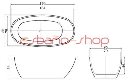 Схема ванна отдельностоящая esbano sophia